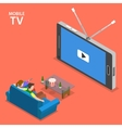 Mobile TV isometric flat vector image