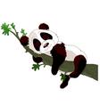 Panda sleeping on a branch vector image