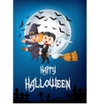 Cartoon witch riding broom with ghost and vampire vector image