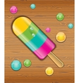 Ice cream on wooden background vector image