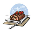 chocolate roll cake with strawberries vector image