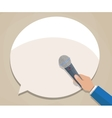 Journalist hand with microphone vector image