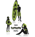 summer people silhouettes vector image