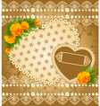 Vintage lace heart with flowers vector image