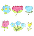 Watercolor flowers set cute design elements vector image