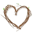 Heart woven of twigs isolated on white vector image