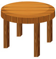 round wooden table on white background vector image vector image
