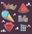 collection of summer doodle patch badges hello vector image
