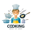 cook chef logo design template cooking or vector image