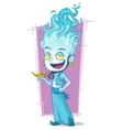 Cartoon jinn with blue fire-head vector image