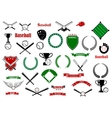Baseball game sport items and designelements vector image