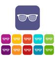 black pinhole glasses icons set vector image