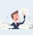 businessman found right letter in a pile of emails vector image