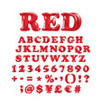 english alphabet and numerals from red balloons vector image