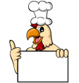 funny cartoon chicken with blank sign vector image