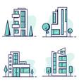 houses set line vector image