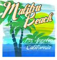 malibu beach typography t-shirt graphics vector image