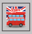red london double decker bus flag public transport vector image