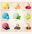 set of cartoon icons ice cream scoops vector image