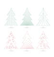 set of christmas trees sketches for design vector image