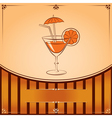 Cocktail glass with orange graphic with place for vector image