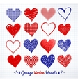 collections of grunge Valentine hearts vector image