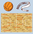 Sketch basketball set with court and ball vector image