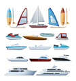 Boats And Windsurfer Flat Icons Set vector image