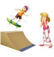 Boy skateboarding on wooden ramp vector image