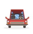 car cartoon red side view isolated road vehicle vector image