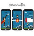 extreme selfie flat design vector image