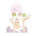 Girl does the mask of cucumber and cream and clay vector image