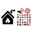 Kitchen Fire Flat Icon with Bonus vector image