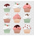 Set of various christmas cupcakes muffins vector image