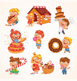 sweet tooth funny cartoon character set vector image