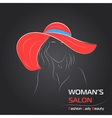 Woman in red hat on black bg vector image