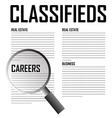 Classifieds search background vector image
