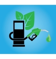 biofuel concept with gasoline pump and green leaf vector image