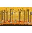 Cartoon autumn seamless forest background vector image
