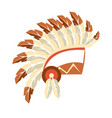 chief war bonnet headdress native american indian vector image