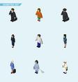 Isometric person set of hostess investor seaman vector image