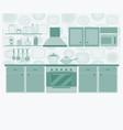 kitchen with furniture set cozy kitchen interior vector image