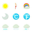weather interface icons set cartoon style vector image