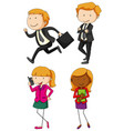 business people in four actions vector image
