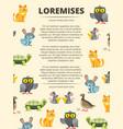 Children info banner with cute cartoon animals vector image