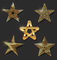 Set of golden decorative stars vector image vector image