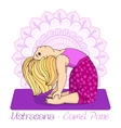 girl in Camel Pose with mandala background vector image