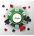 Cards symbols of Poker and chip design vector image