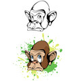 cartoon head monkey vector image