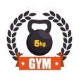 gym sport kettlebell label graphic vector image